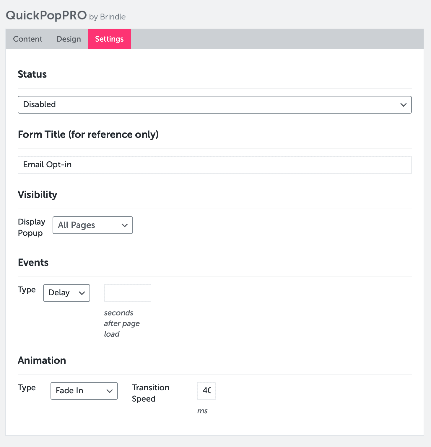 QuickPop Settings